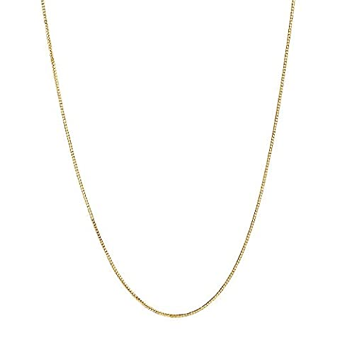 14k Yellow Gold Adjustable Box Chain Necklace 0.60 Mm 16-22 Inches (14k Yellow Gold Box Chain 16 Inch)