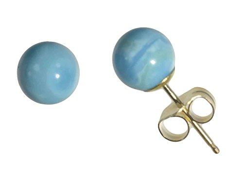 Sleeping Stabilized Beauty Turquoise - 14k Yellow Gold Turquoise Sleeping Beauty Round Stud Earrings 6mm