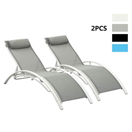 PCAFRS Adjustable Chaise Lounge Chair with Headrest, Set of 2 Aluminum for Sunbathing On Outdoor Patio Beach Pool Backyard Lounge Chair (Grey)