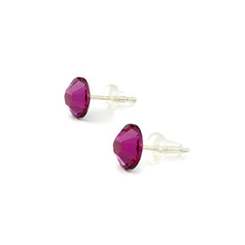 Fuchsia Pink Swarovski stud earrings for woman - silver plated 7mm handmade with rubber ends - choose your birthstone - one (Melissa Joy Manning Drop Necklace)