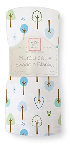 SwaddleDesigns Marquisette Swaddling Blanket, Premium Cotton Muslin, True Blue Cute and Calm