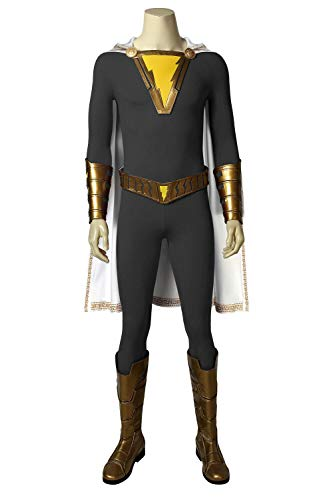 cosdream Captain Marvel Shazam Costume Freddy Freeman Cosplay Halloween Adult Outfit (Full set with boots,M)