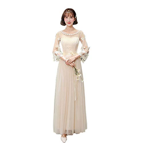 XFentech Long Bridesmaid Dress Womens Lace Slim Evening Dress Korea Style