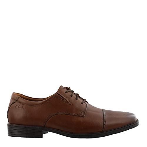 CLARKS Men's Tilden Cap Oxford Shoe (11.5 E - Wide, Dark Tan Leather) ()