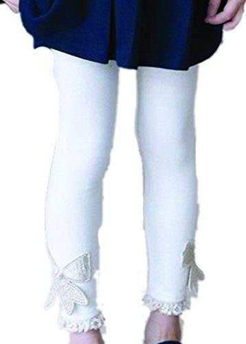 TM Little Girls Wool Blend Golden Bowknot Slim Tights Skinny Leggings 7T £×hite
