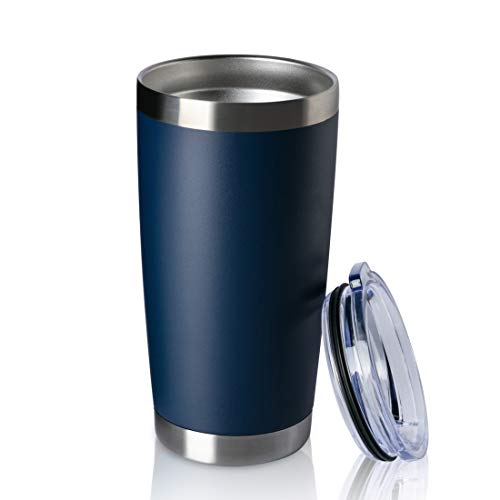 ONEB 20oz Double Wall Vacuum Insulated Travel Mug, Stainless Steel Tumbler with Lid, Durable Powder Coated Insulated Coffee Cup for Cold & Hot Drinks (Navy, 20oz-1 Pack) (Insulated Mugs For Cold Drinks)
