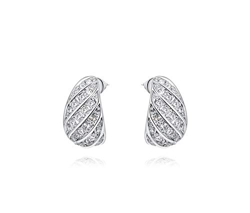 (Silver Shoppee Girls' 'Dazzling' Genuine Austrian Crystal Sterling Silver Plated Stud)