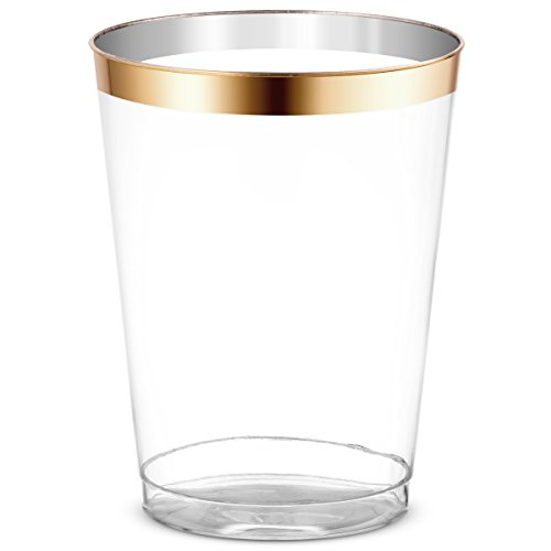 50 Gold Rimmed Clear Hard Plastic Cups | 10 oz. Fancy Disposable Tumblers (50-Pack) by Bloomingoods
