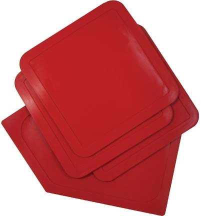 Throw-Down Baseball Bases...Set Of 3 Bases & 1 Home Plate...Red (2 Sets of Bases) by Olympia Sports
