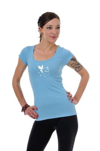 corta de de manga Top mujer Verano camisa hadas Azul redondo de Om Blanco ropa camisa Yoga cuello 3elfen con Goa EnqwOx08w