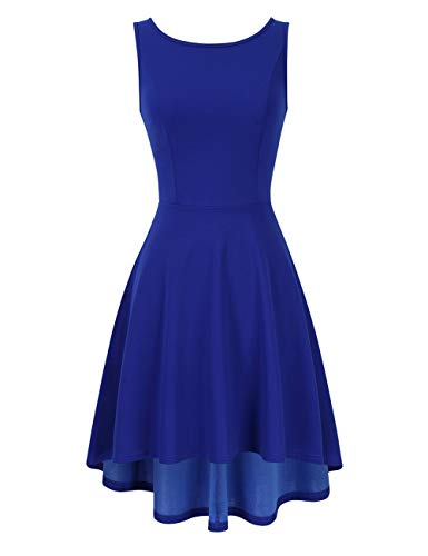 - MISSKY Women Casual Sleeveless Scoop Neck High Low Cocktail Party Skater Swing Dress Deep Blue M