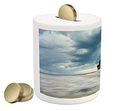 Lunarable Lighthouse Piggy Bank, Au Sable Lighthouse in Pictured Rock National Lakeshore Michigan USA, Printed Ceramic Coin Bank Money Box for Cash Saving, Blue Green Cinnamon