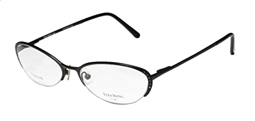 Vera Wang Epiphany Ii Womens/Ladies Designer Half-rim Titanium Crystals Spring Hinges Eyeglasses/Eye Glasses (52-17-140, - Half Glasses Rim Bottom