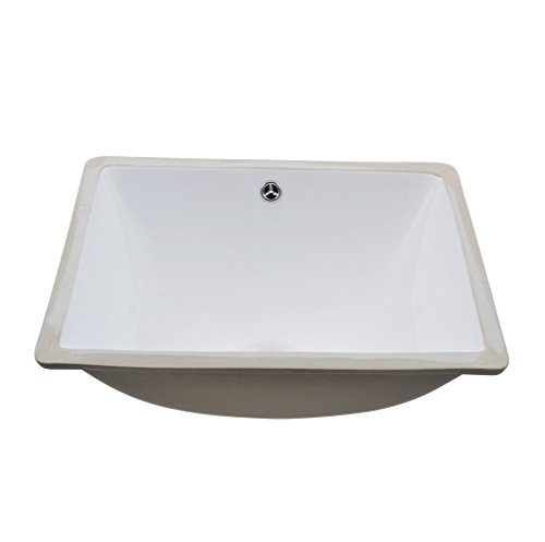 KES Bathroom Rectangular Porcelain Undermount Sink White Undercounter Sink for Lavatory Vanity Cabinet Contemporary Style with Overflow, BUS110