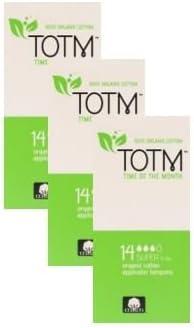 Tres paquetes de 14 tampones con aplicador de algodón orgánico ...