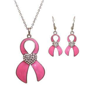 Pink Ribbon Breast Cancer Awareness Rhinestone Pendant Necklace & Earring Set - Pink Ribbon Ring