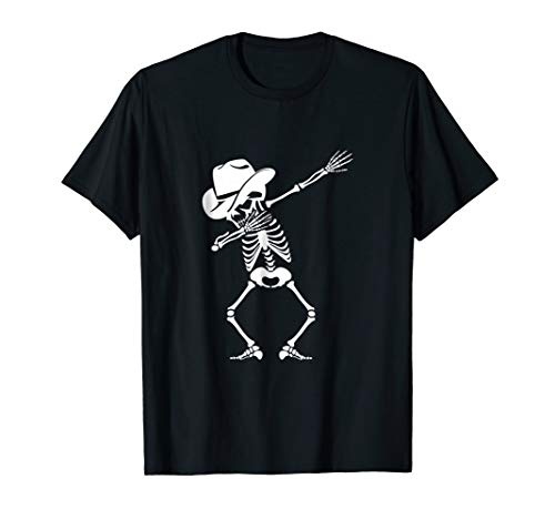 Dabbing Skeleton T-shirt Cowboy Hat Skull Shirt Dance Move ()