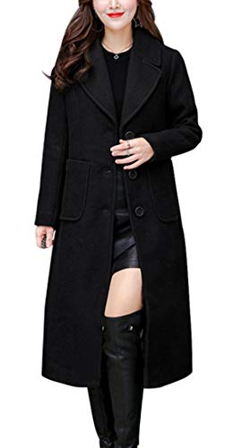 chouyatou Women's Big Notch Lapel Single Breasted Mid-Long Wool Blend Coat (Large, - Coats Black Wool Womens