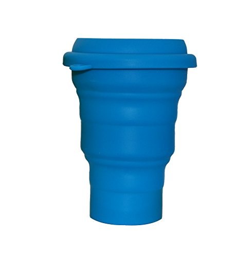 LevelOne Collapsible Travel Silicone Camping Cup BPA Free, 16 oz, Blue