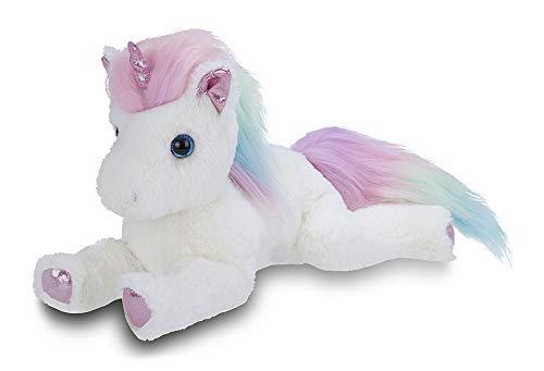 Bearington Rainbow Shimmers White Plush Stuffed Animal Unicorn, Rainbow Mane, 17 Inches
