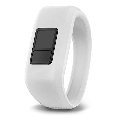 iBREK for Garmin Vivofit jr/jr 2/3 Bands, Silicon Stretchy Replacement Watch Bands for Kids Boys Girls Small Large(No Tracker)-Large,White ()