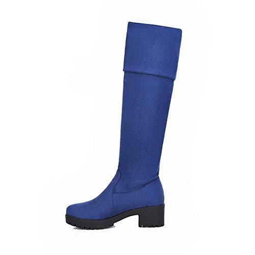 AgooLar Damen Hoher Absatz Mattglasbirne Oberschenkel Hohe Rein Ziehen auf Stiefel, Blau, 37