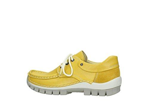 mujer cordones de Jump Leder 70900 Wolky de Zapatos 4700 Gelb Gris para Piel xgqwSOB