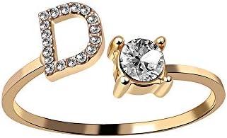 Offene Ringe Für Mann,Vintage Verstellbare Offene Goldene Buchstaben des Alphabets D-Form Inlay Zirkon Ring Schmuck Hochzeitsfeier Frauen Männer Paar