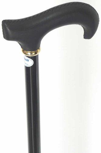 レザー(牛革巻き)L字型カーボンステッキ(杖) ブラック B00GQG5JNA
