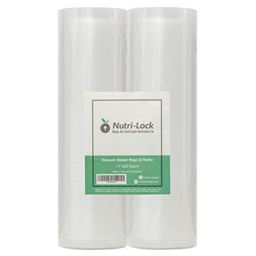 Nutri-Lock Vacuum Sealer Bags. 2 Pack 11x50 Commercial Grade Bag Rolls for FoodSaver, Sous Vide -