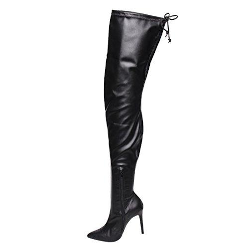 Liliana GE32 Womens Pointy Toe Drawstring Thigh High Stiletto Boots Black Pu xx9t7G