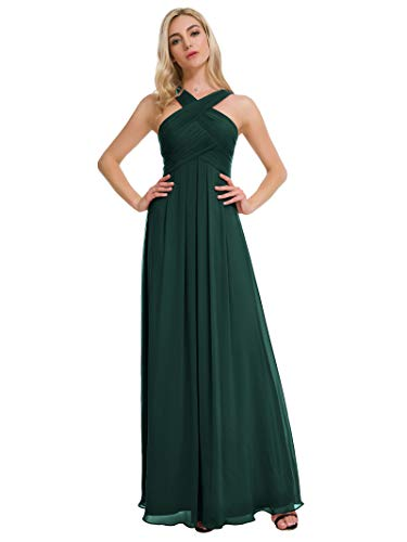 Alicepub Pleated Chiffon Bridesmaid Dresses Formal Party Evening Gown Maxi Dress for Women, Dark Emerald, US10