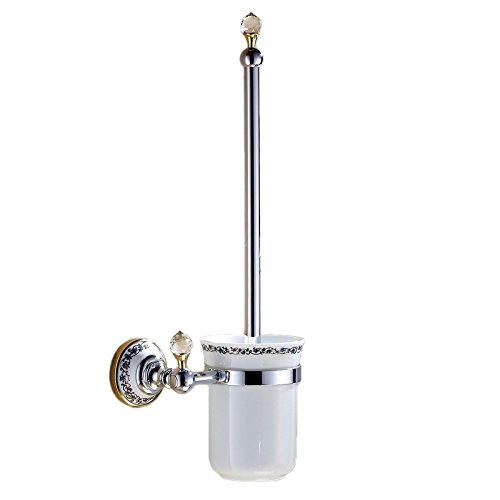 Lavatory Set Porcelain - OWOFAN Toilet Brushes Holder Set With Lavatory Ceramic Cup Brass Wall Mounted, Polished Chrome WF-6304L