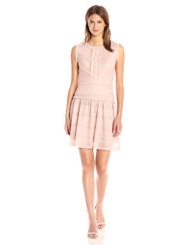 Julia Jordan Women's Detail on Sleeve Trim and All Over Lace Round Neck, Dusty Rose, 6 by Julia Jordan