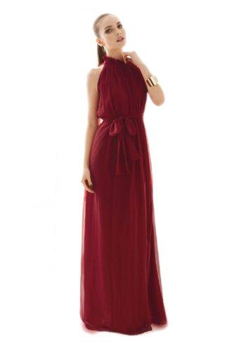 Flouncing Pleine Longueur Bordeaux Robe Maxi Soirée Des Femmes En Mode Ca