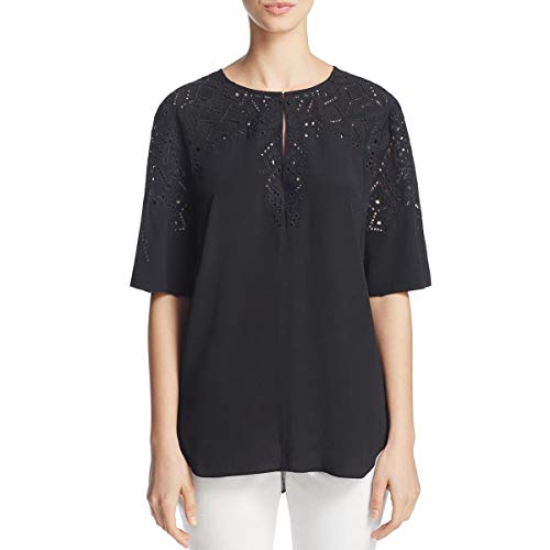 Theory Women's Antazie E2_Ghost Cre Woven (Tops), Black, P from Theory