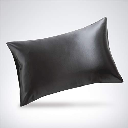 Bedsure Silk Pillowcase - Queen Size (20 x 30 inches) Pillowcase - 100% Mulberry Silk on Both Sides, Pillow Case for Hair and Skin with Envelop Closure - Grey Pillow - Silk Inch 30