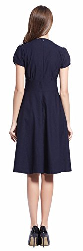 Jeansian Mujer Elegant V Neck Short Sleeve Swing Skater Cocktail Dress Fiesta Negocio Vestidos WKD288 Navy