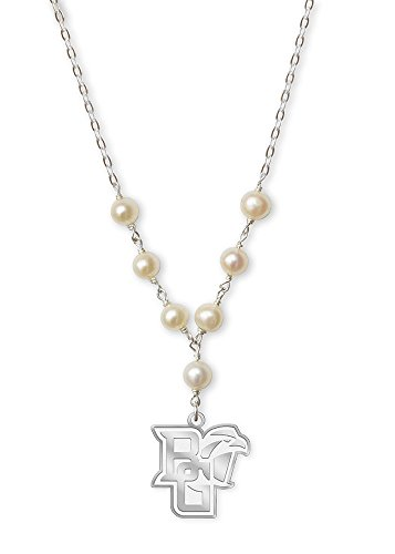 College Jewelry Bowling Green State University Falcons Tin Cup Cultured Freshwater Pearl Charm Necklace