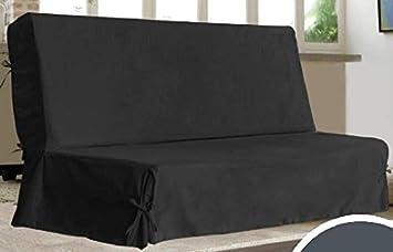 Univers Decor Housse Clic Clac à Nouettes Unie 140 X 200 Cm Noir Housse Clic Clac à Nouettes Unie 140 X 200 Cm