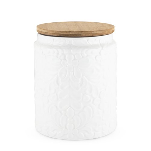 Twine Pantry Textured Ceramic Large Canister with Airtight Sealing Bamboo Lid, White