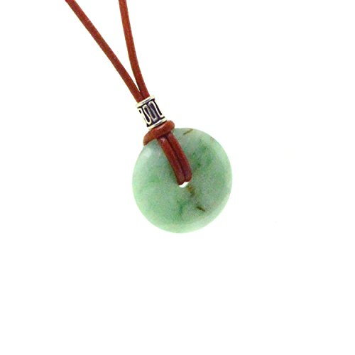 Certified Jade Artisan Necklace with 25-30mm Jade Pendant that includes 18 inch 2mm Leather Cord - Jade brings Good Luck and Longevity