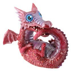 Red Baby Dragon Collectible Serpent Figurine Reptile Sculpture