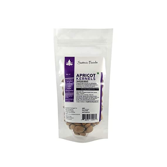 Sattvic Foods Sweet Apricot Kernels/Seeds from Himalayas, Dehydrated, 100g
