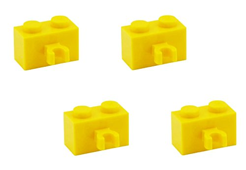 Lego-Parts-Brick-Modified-1-x-2-with-Vertical-Clip-PACK-of-4-Yellow
