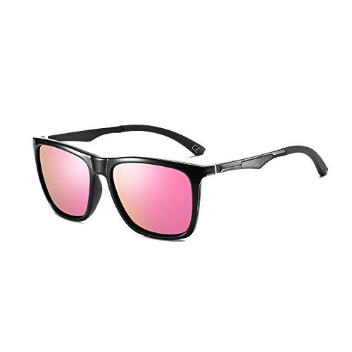 Pink Super Femmes Cadre Soleil Black Al Hommes Lunettes de BLEVET Classique Léger BE003 Métal Mg pour Lens Polarisé Frame q7TxY