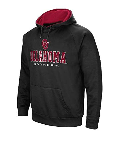 Colosseum NCAA Men's-Cold Streak-Dual Blend-Fleece Hoodie Pullover Sweatshirt with Tackle Twill Embroidered Team Name and Logo-Team Colors (Oklahoma Sooners-Black, Small) Black Tackle Twill Hoody Sweatshirt
