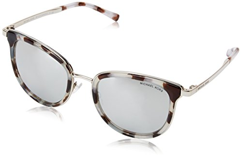 Michael Kors Women's Adrianna I MK1010 Snow Leopard/Silver Tone/Silver Mirror Sunglasses