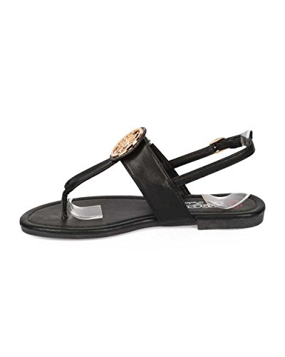 Dbdk Ee84 Sandalo Infradito T-strap Con Cinturino In Pelle - Nero