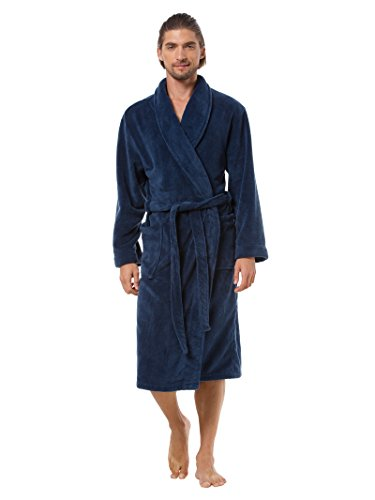 SIORO Men's Plus Size Bathrobe Long Plush Fleece Robe Warm Shawl Collar Soft Sleepwear Boys Loungewear Pajamas with Pockets Christmas Dressing Gown Solid Navy ()